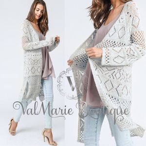 Light gray knitted long breezy cardigan